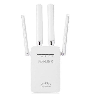 Mini WiFi Repeater Router Access Point Wi-Fi Range Extender with 4 External Antennas Protection