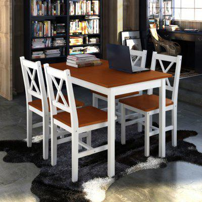 Wooden Table 4 Chairs Furniture Set White Brown Table Dining Table Set