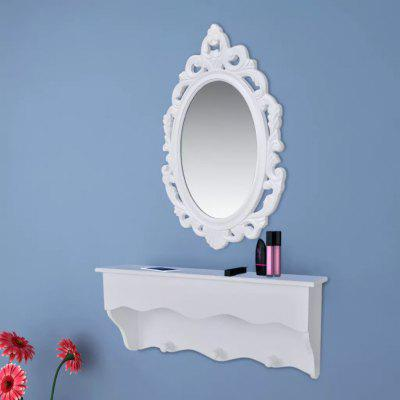 vidaXL Wall shelf set for keys and jewelery with mirror and hook