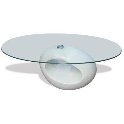 Coffee Table with Oval Glass Top High Gloss White