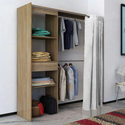 vidaXL Wardrobe with curtain width adjustable 121-168 cm