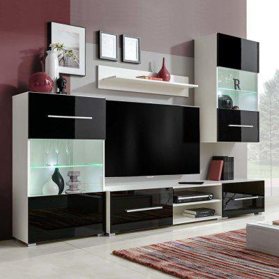 vidaXL 5 piece wall-mounted TV stand with LED lighting Black