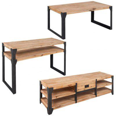Coffee table TV cabinet Three 3 Piece Living Room Furniture Set Solid Acacia Wood