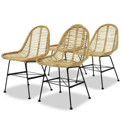 Dining Chairs 4 pcs Natural Rattan
