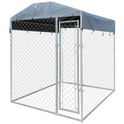 Outdoor Dog Kennel with Canopy Top 2x2 m