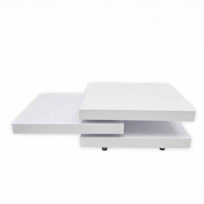 Coffee Table 3 Tiers High Gloss Rotatable White