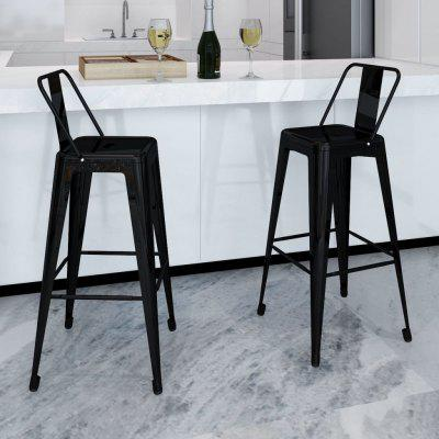 vidaXL Bar Stools 2 pcs Black Steel