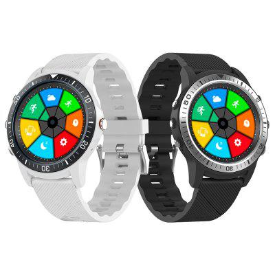 Mombasa S22 Dual Bluetooth Sports Smart Watch with Perforated Screen Pointer White Image