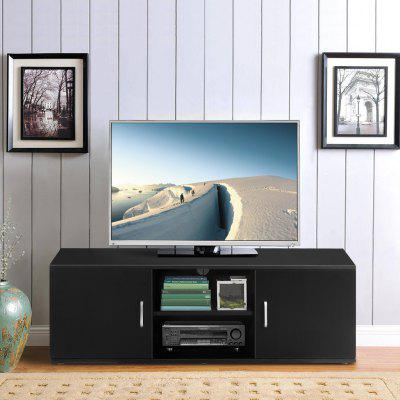 LANGRIA TV Cabinet Stand with 2 Doors Tier Open Shelf and Ample Flat Surface for Home Living Room