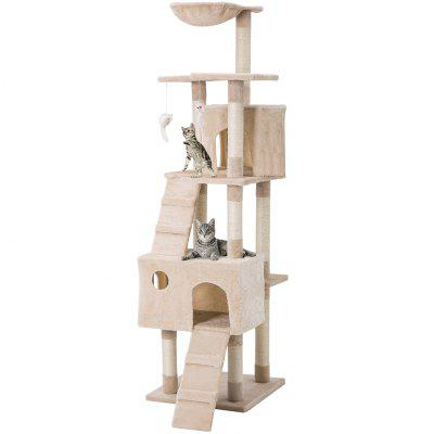 LANGRIA Cat Tree Multi Level Tower with Scratching Posts Condos and Tangling Interactive Cat Toys