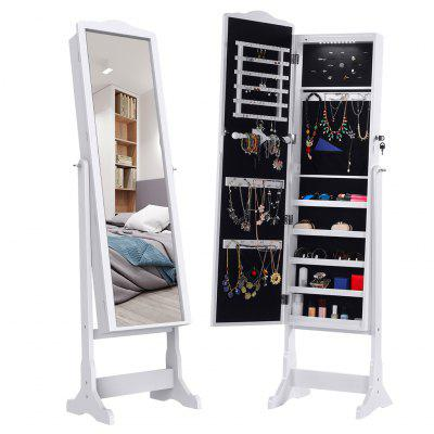 LANGRIA Lockable Standing Jewelry Cabinet Full-Length Mirrored Jewelry Armoire for Rings Bracelet