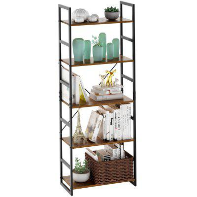 LANGRIA 5-Tier Bookshelf Organizer with Resistant Black Metal Frame for Books Plants Ornaments