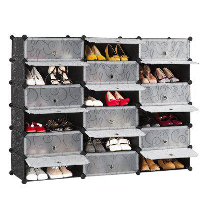 LANGRIA 18-Cube DIY Shoe Rack Multi-Use Modular Organizer Storage Plastic Cabinet with Doors