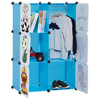 LANGRIA 6-Cube Closet Storage Organizer for Kids Stackable Plastic Cube Shelves Cupboard Cabinet