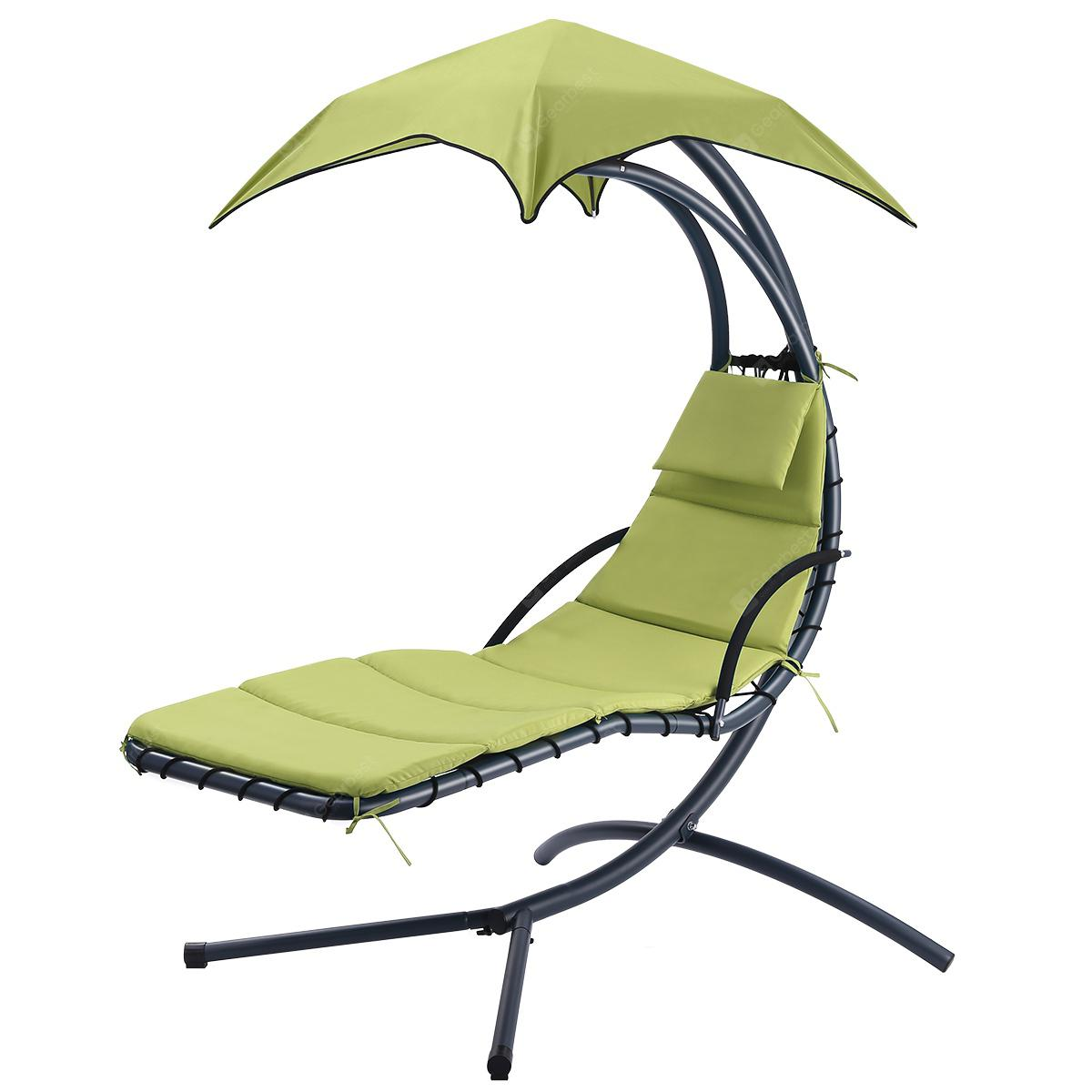 Hanging Chaise Lounge Chair Outdoor Indoor Hammock Chair Swing For Patio Beach Yard Light Green