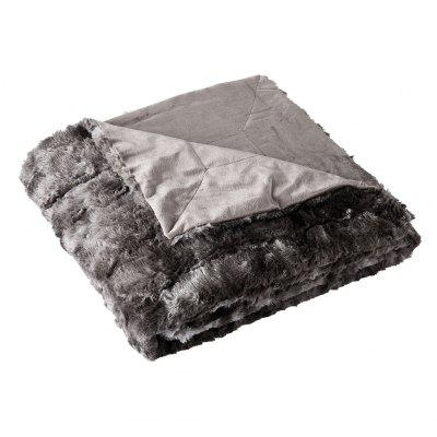 LANGRIA Faux Fur Fleece Blanket Throw 60 x 80 Black