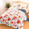 LANGRIA Comforter Set of 3 with Floral Print Reversible Design Ultra Soft and Lightweight