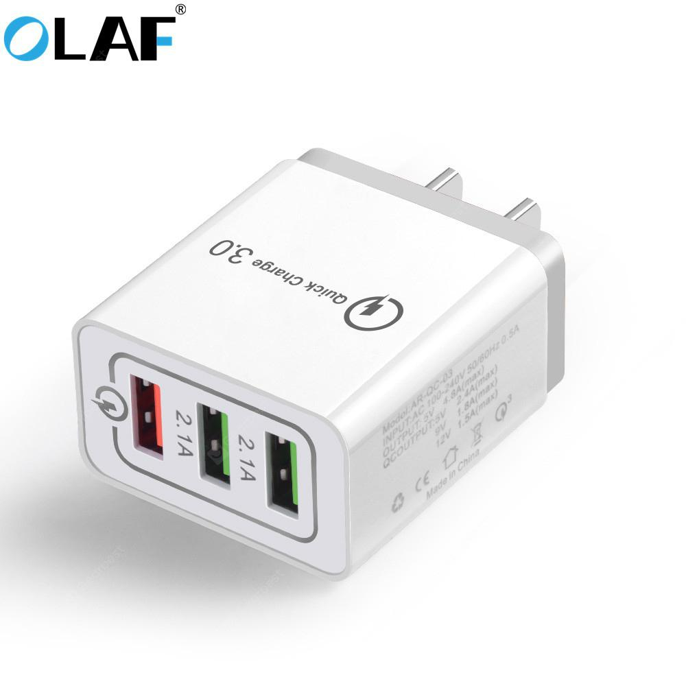 OLAF Quick Charger QC 3.0 3-port USB Fast Charging Adapter for Xiaomi mi note 10 Huawei Samsung