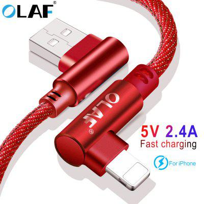 OLAF 5V 2.4A USB Type C Micro IOS 90 Degree Fast Charging Usb Cable Cord For Samsung Xiaomi iphone