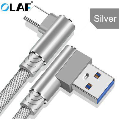 OLAF Type C Cable 2.4A Fast Charging 90 Degree Elbow USB Cable For Samsung Huawei Xiaomi