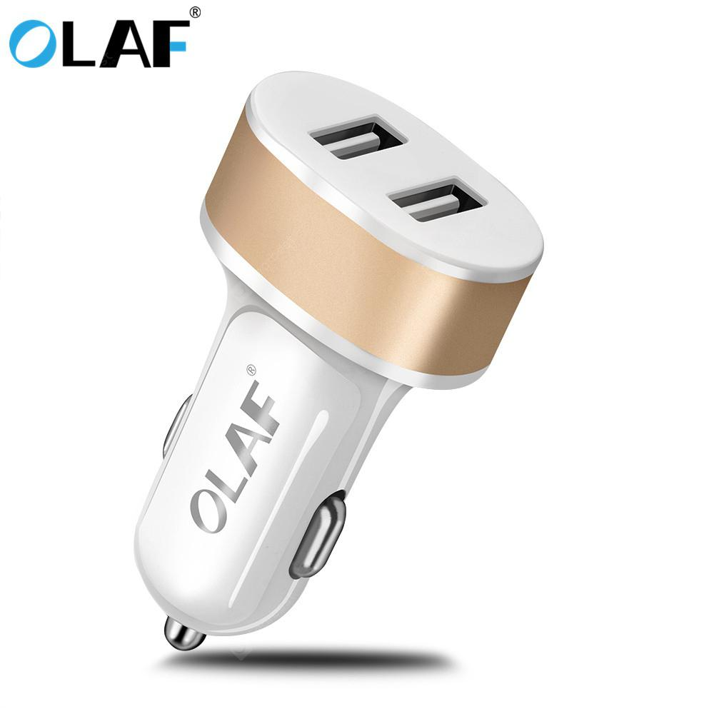 OLAF Dual USB Universal Smart Car Charger Fast Charging For Iphone Samsung Xiaomi Huawei - Gold Car charger - 0.91€