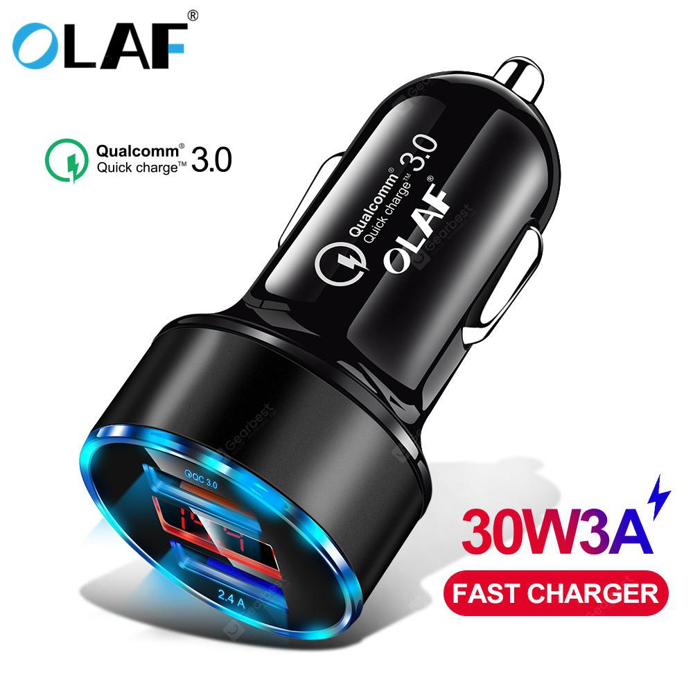 OLAF 30W 3A Metal Dual USB Super Fast Charging Car Charger Digital Display For iPhone Xiaomi Samsung
