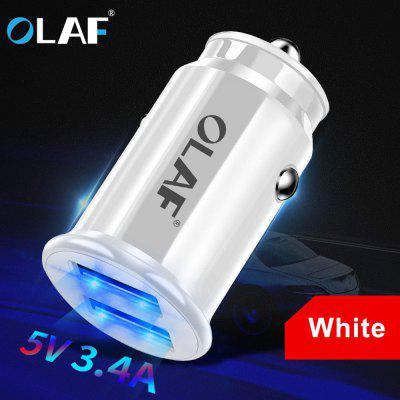 OLAF 5V 3.4A Dual USB Car Charger Fast Charging Bright Lighting Mini Quick Charger For Mobile Phone