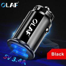 Gearbest OLAF 5V 3.4A Dual USB Car Charger Fast Charging Bright Lighting Mini Quick Charger