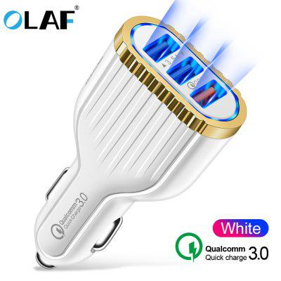 OLAF QC3.0 3U Car Charger Pattern Lighting Display Fast Charging Stable Power for Mobile Phone