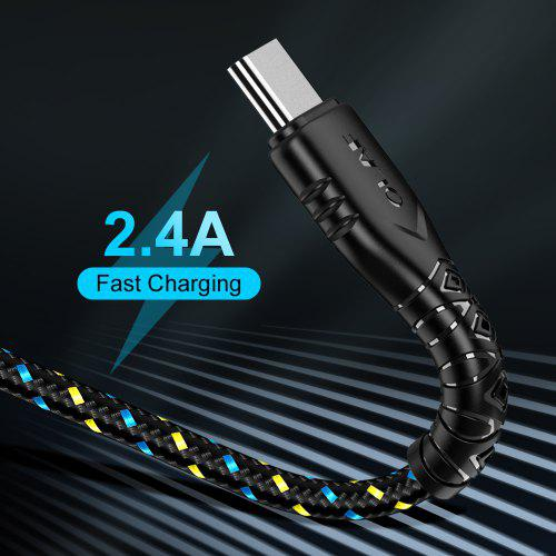 OLAF 2.4A Nylon Fast Charging Cable Date Sync for Micro USB Type C for Samsung Xiaomi Huawei