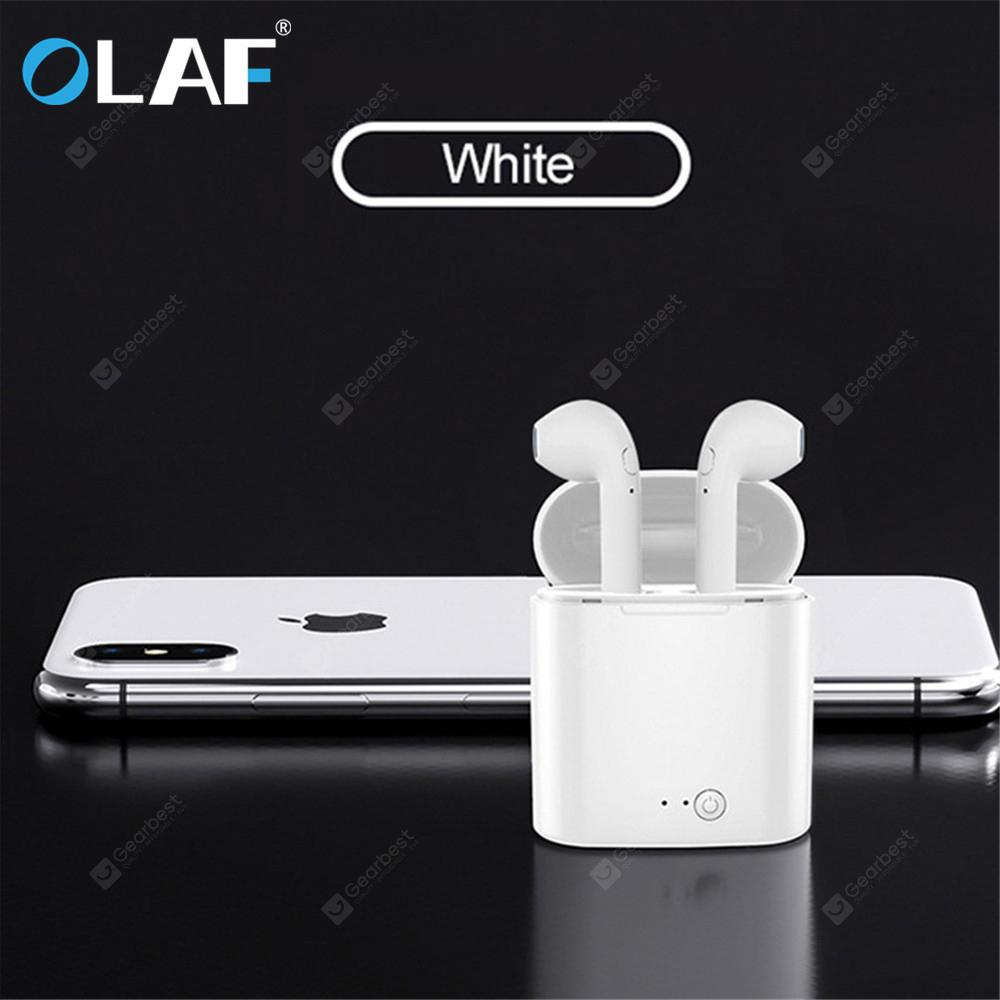 OLAF i7s Bluetooth Earphone Mini Wireless Earbud Sport Cordless Headset with Charging Box for iphone - White