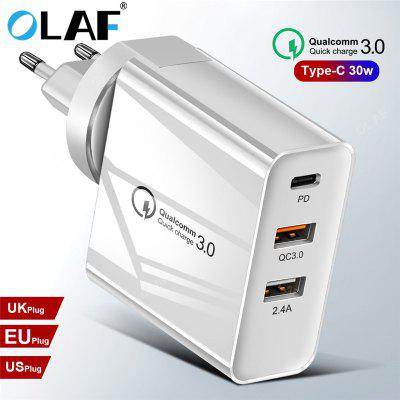 OLAF 3USB PD Fast Charging Type C Mobile Phone Micro Data Charger For iphone Xiaomi Samsung