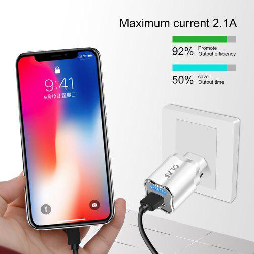 OLAF Plum Phone Dual USB Charger 2.1A Small and Protable Charger for iPhone Sunsang Huawei Xiaomi
