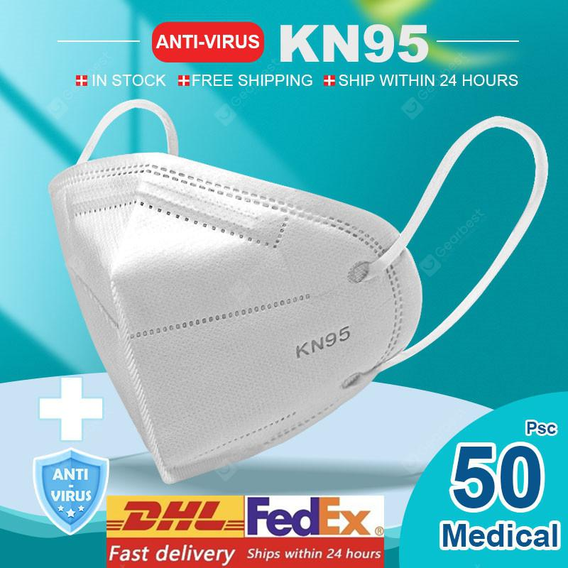 KN95 N95 Respirator Face Mask Surgical Adjustable Dust Full Face Mask Medical Health Care Facepiece - 50pcs