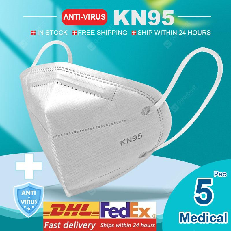 KN95 N95 Respirator Face Mask Surgical Adjustable Dust Full Face Mask Medical Health Care Facepiece - 5pcs