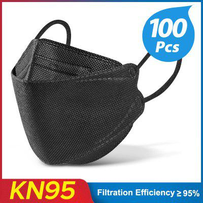 10-100pcs Black KN95 Fish Mask safety protective Respirator face mask Colored FPP2 Homologada 4 Layers FFP2mask Adult