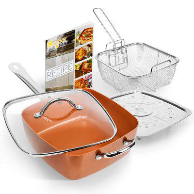 Nonstick Ceramic Copper Deep Square Pan 5 Pieces Cookware Set Frying Basket Steamer Roast Rack