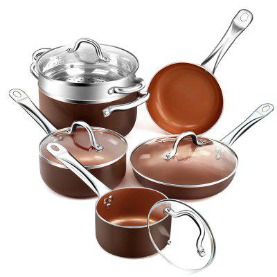 Nonstick Ceramic Copper 10 Pieces Cookware Set  Aluminum Pots and Frying Pans Set