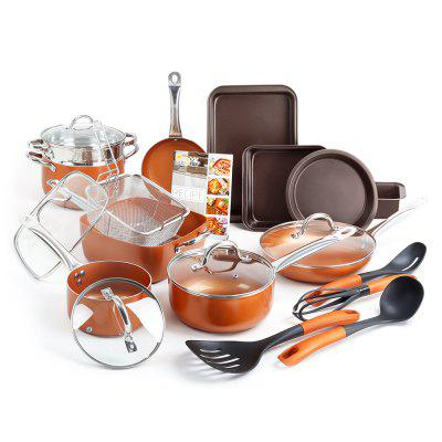 23 Piece Pots and Pans Cookware Bakeware Set In Black and Utensils