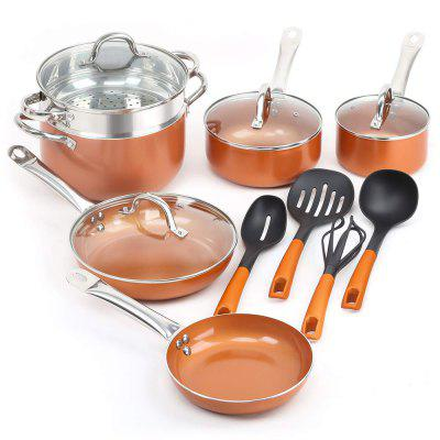 14 Piece Non Stick Copper Cookware Set In Black and Utensils