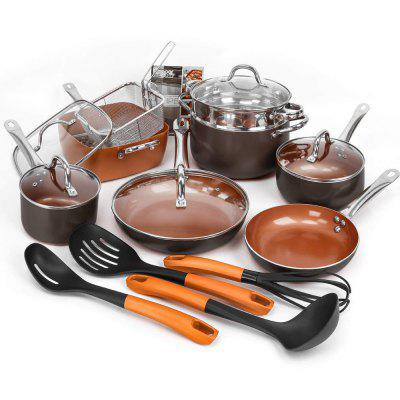 19 Piece Pots and Pans Copper Cookware Bakeware Set and Utensils