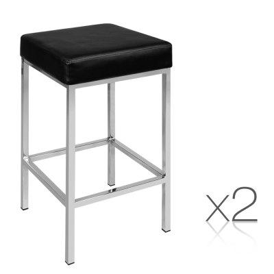 Artiss Set of 2 PU Leather Backless Bar Stools Black Home Use Stools Barware