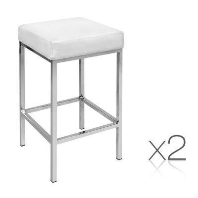 Artiss Set of 2 PU Leather Backless Bar Stools - White ba-tw-9076-WHX2
