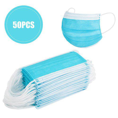50Pcs Disposable 3-Ply Face Cloths with Earloops Protective for Pollen,Smoke,Dust Blue