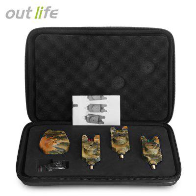 Outlife JY - 35 - 3 Wireless Camouflage Fishing Bite Alarm Set with Case