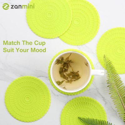 zanmini Silicone Coaster Food Safe Cup Mat Set of 6 green