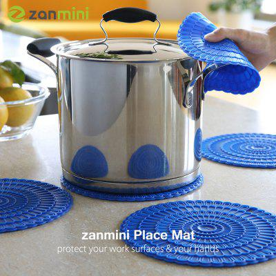 zanmini Silicone Hot Pad Food Safe Place Mat Set of 4 blue