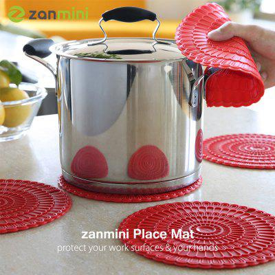 zanmini Silicone Hot Pad Food Safe Place Mat Set of 4 red