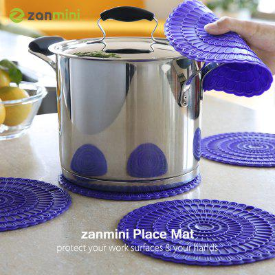 zanmini Silicone Hot Pad Food Safe Place Mat Set of 4 purple