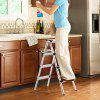 Finether 3.2 ft High Aluminum Folding Double Sided Step Ladder Lightweight Portable Step Ladder